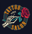 tattoo studio colorful round print vector image vector image