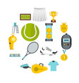 tennis set flat icons vector image vector image