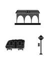 train and station logo set vector image