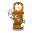 two finger grandfather clock character cartoon vector image vector image