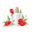 women care cosmetic in beautiful bottles over vector image