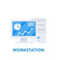 workstation computer vector image vector image
