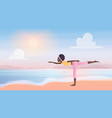 yoga asana sport activity in nature beach vector image