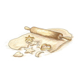 Hand drawn of roll dough with cookies vector image