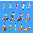 Isometric People Man and Woman Exercising vector image
