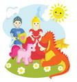 a knight a princess a unicorn a dragon vector image
