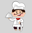 chef with knife and dish vector image