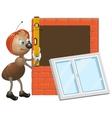 Ant worker Installing plastic window vector image vector image