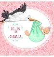 Baby greetings card with stork and girl eps10 vector image vector image