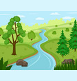 beautiful nature landscape with river vector image