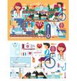big set design medicine health vector image vector image