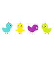 bird icon set line cute cartoon funny kawaii baby vector image