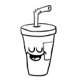 black and white happy freehand drawn cartoon soda vector image vector image