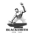 blacksmith emblem in engraving style vector image