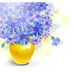 bluebottle bouquet in yellow vase vector image vector image