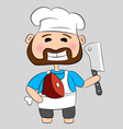 butcher with knife and meat vector image