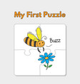 cartoon bee puzzle template for children vector image vector image