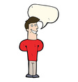 cartoon grinning man with speech bubble vector image vector image