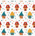 cartoon houses childlike pattern on white backgrou vector image vector image