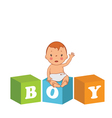 cute baby boy with children bricks vector image vector image