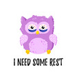 cute cartoon tired displeased owl doodle vector image