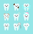 cute teeth colorful set with different vector image vector image