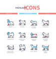 dog breeds - modern line design style icons set vector image vector image