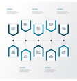 engine icons line style set with website vector image vector image