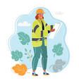 engineer woman in orange helmet plan building vector image vector image
