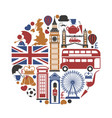 england uk travel sightseeing icons and vector image vector image