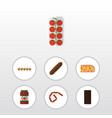 flat icon meal set of bratwurst eggshell box vector image vector image