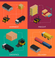 freight shipment and delivery logistics set vector image vector image