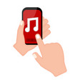 hand holding a smartphone with a music player app vector image
