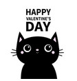 happy valentines day black cat head face with big vector image vector image