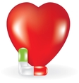 Heart and two pills vector image vector image