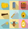 honey production icons set flat style vector image