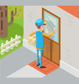 isometric express courier special delivery boy man vector image vector image