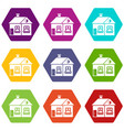 large single-storey house icon set color vector image vector image
