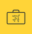 linear design of briefcase with airplane icon vector image