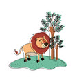 lion cartoon in forest next to the trees in vector image