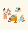 little boy and girl playing with toys sitting vector image