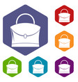 little woman bag icons set hexagon vector image vector image