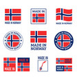made in norway labels set kingdom norway icon vector image vector image