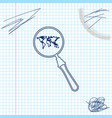 magnifying glass with world map line sketch icon vector image vector image