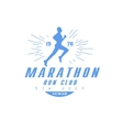 Marathon Running Blue Label Design vector image vector image