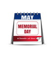 memorial day calendar vector image vector image