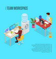 modern team workspace isometric 3d poster vector image