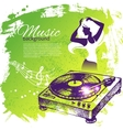 Music background with hand drawn and dance girl vector image vector image