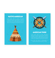 native american card templates with ethnic symbols vector image vector image