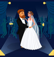 newlywed couple just married together drawing vector image